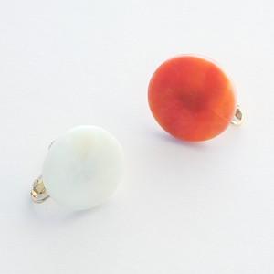 【一点物イヤリング】長谷川昌彦/ orange&white