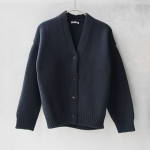 AURALEE SUPER MILLED KNIT BIG CARDIGAN INK BLACK