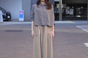【maillot】mature cotton easy double pants col.BEIGE