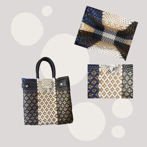 カラフルカゴバッグ/ メルカドバッグ 留め具付 ハンドバッグタイプ 全9色