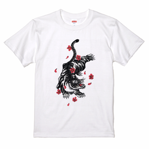 Tiger and Plum Flower Tee T-Shirt 虎と紅梅 Tシャツ