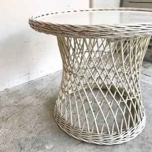 "Vintage Rattan Round Table ""Rohe"" オランダ 1960's"