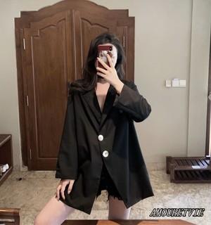 2019 春 夏 レディース 新作 アウター ジャケット 黒 ブラック 大きいサイズ 大きめ オルチャン 韓国ファッション 545