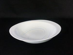井上康徳作】白磁彩釉楕円 皿(大)