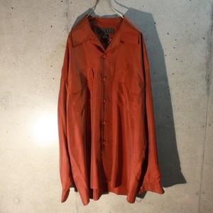 Long sleeve open collar silk shirt