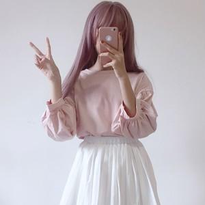 【トップス】シンプルファッション春夏半袖プルオーバーTシャツ