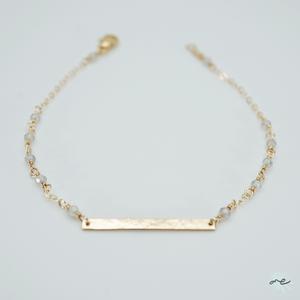 Labradorite×Bar Charm Bracelet / 14KGF
