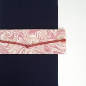 半巾帯 [ 紅梅色 × オリーブ ]