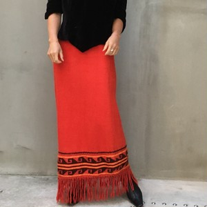Vtg Alpaca wool fringe long skirt