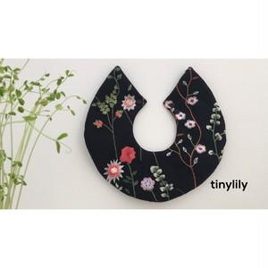 花柄刺繍スタイ(ブラック)