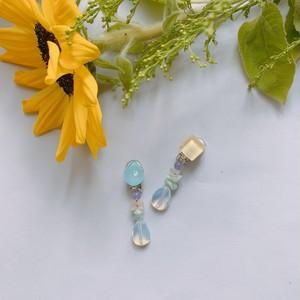 """ Earrings NO.danoan-16″ アシメペイント×天然石"