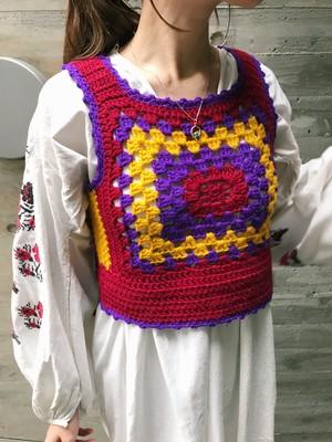 60s-70s handmade granny knit vest ( ヴィンテージ ハンドメイド ニット ベスト