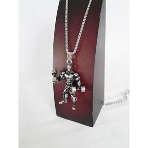 ネックレス バーベル ダンベル ウェイトリフティング ボディビルダー 筋肉 筋トレ プロテイン シルバー 銀 SILVER 1589