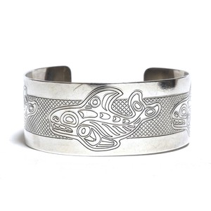 Vintage Northwest Coast Haida Sterling Silver Shark Bangle by Victor Adams