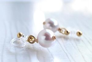 PREMIUMバロック真珠のノンホールピアス(ピアス変更可)
