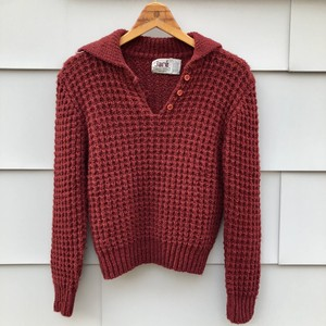 Burgandy Collared Knit Sweater