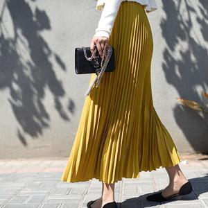 プリーツロングスカート 10色◆マキシ丈
