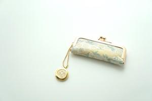 【琳派 桜 グリーン&ゴールド シルク帯  印鑑ケース】結婚祝い、誕生日のギフトに。がま口、帯リメイク