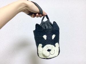 黒柴 巾着バッグ(かぎ針編み犬型巾着バッグ)
