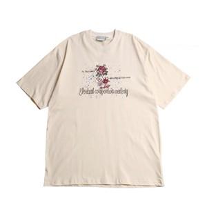 刺繍入りハーフスリーブ |クルーネック 刺繍 Tシャツ オーバーサイズ