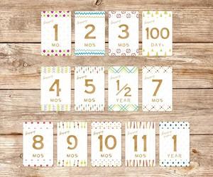 【Twinkle】マンスリーカード・月齢カード(裏面に毎月の成長記録が残せるカード)
