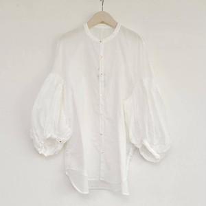 キャピタル 一重ガーゼバンドカラーブッファンシャツ(ホワイト)
