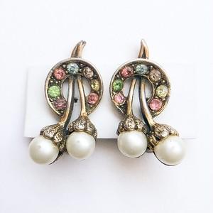 pearl & rhinestone cherry earring[e-1061]