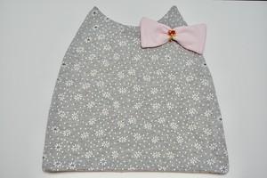 【新シリーズtam✿】ネコ耳ケア帽子✿花柄✿ビジュー付きピンクリボン