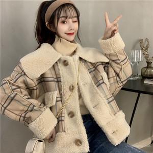 【アウター】2019韓国系ゆったりラムウールレトロチェック柄切り替え折り襟ボタンジャケット