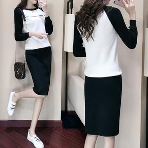 【セットアップ】気質感たっぷりカジュアルニット長袖Tシャツショートスカート2点セット19846958