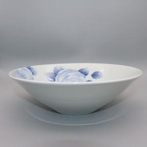 砥部焼 大西陶芸 白石久美作 22㎝浅鉢 イッチンローズ