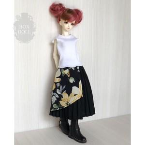 【40cmサイズ】とろみアシメスカート 黒