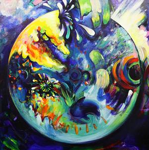 1点もの絵画「RINNE ~Undulation Star~ / 輪音 ~波動 星~」恒星アクリル画