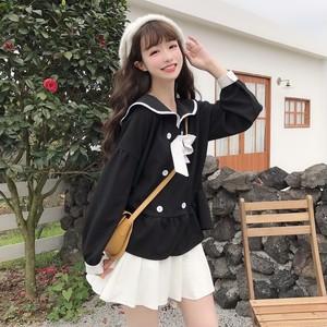 【トップス】韓国風スウィート春夏リボン付き配色カジュアル長袖シフォンシャツ