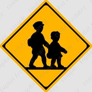 【イラスト】学校、幼稚園、保育所等ありの 交通標識