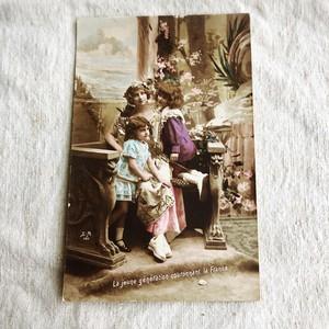 フランスのアンティークポストカード 若い世代 P006
