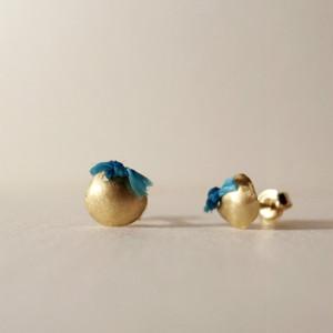 18金ゴールドスタッドピアス(S)Blue:単品