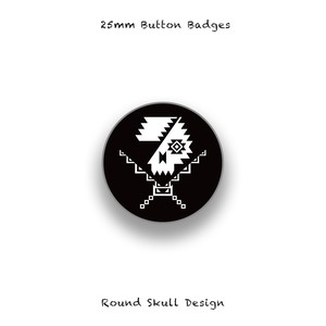 25mm Button Badges / Native Skull Design