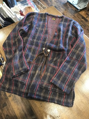 PIG&ROOSTER LANAI CHECK SHAGGY CARDIGAN / NAVY CHECK