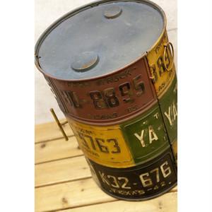 インダストリアル*テキサスナンバープレートドラム缶ボックス*ヴィンテージ工業系収納*本州送料無料