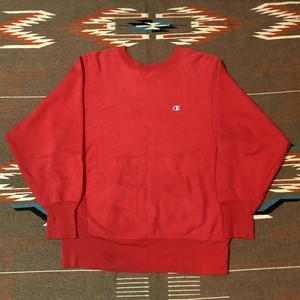 80's チャンピオン リバースウィーブ 無地スウェット ビンテージ Champion REVERSE WEAVE SWEAT ワンポイント刺繍(赤,M)