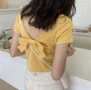 ★05154 レディースファッション カットソー Tシャツ 半袖 春夏 トップス バッグリボン