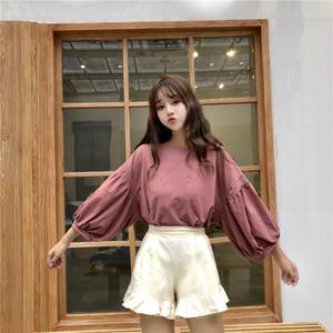 【トップス】韓国風春秋学園風ゆったり九分袖ランタンスリーブシャツ