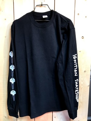 【クリックポスト200-対応】IGNITION SKATESHOP IGNITION L/S T-SHIRTS KEY BLACK M