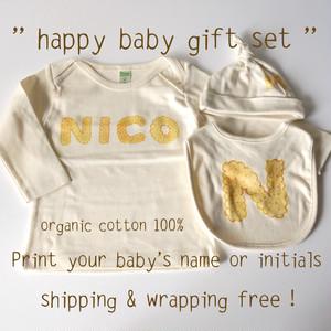 < 送料無料ベビーギフトセット > happy baby gift set ( ビスケットアルファベット*プレーン )- ベビーTシャツ1枚 / キャップ 1枚 / スタイ 1枚【受注生産】
