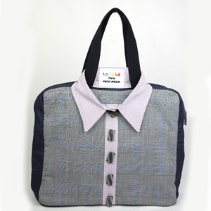 フランス製、ヴィンテージ素材を使ったオシャレ、ハンドメイドバッグ  Lo La Le Paris     Sweet Shirt bag  Perry No,113