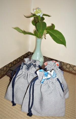 刺子織生地の巾着袋