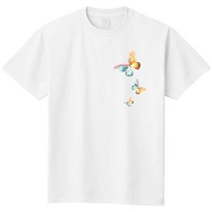 チョウチョ(ホワイト)/昆虫Tシャツ(5.6oz)