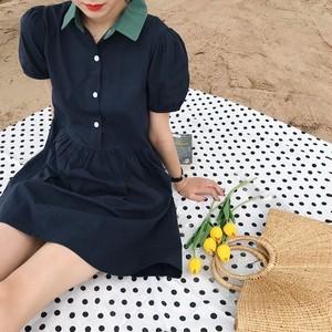 カラーネック シングル ブレスト 半袖 ドレス