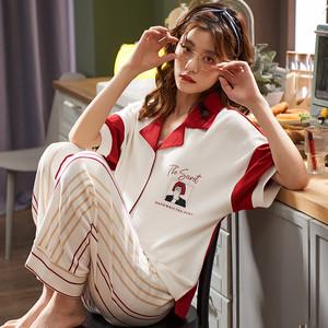 【ルームウェア】2点セット夏新作韓国風スウィート薄型トップス+パンツ